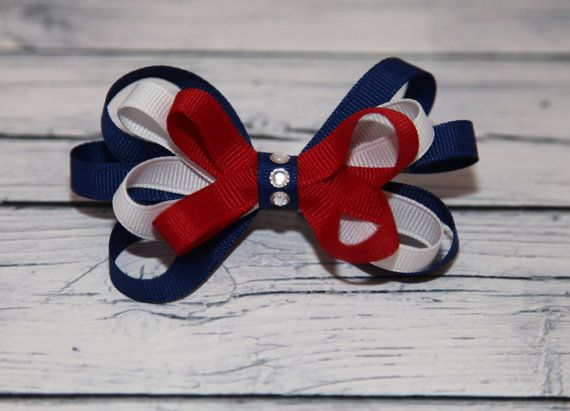 Fourth of July Hair Bow, Patriotic Hair Bow, Red, White and Blue Loopy Hair Bow