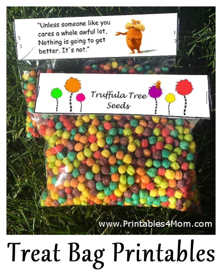 Truffula Tree Seeds Free Topper Printable. Dr. Suess's Birthday or Earth Day