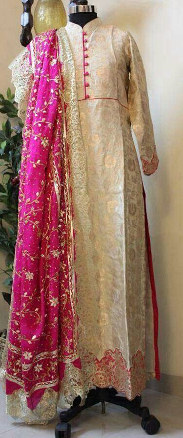 Beige and Pink Colored Pure Silk Suit With Hand Worked