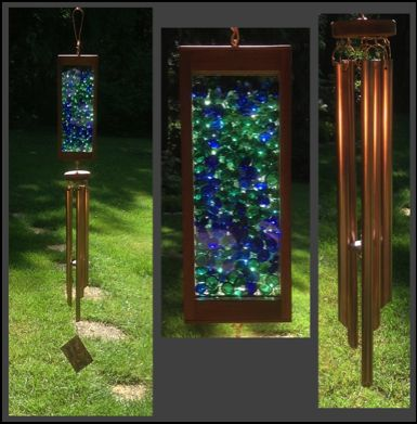 Tim Kline - Glass and copper handcrafted art wind chime.