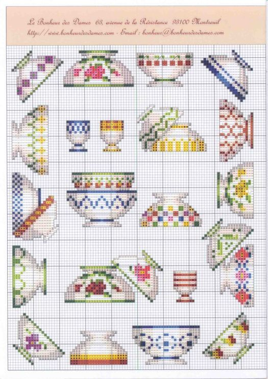 Patterned cups free cross stitch patterns