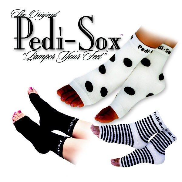 "The Original Pedi-Sox® ""Pamper your Feet""®   Keep freshly pedicured feet cody and clean.  Toenails dry flawlessly.  Skin will be softer and smoother."