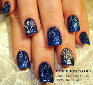 """Nail-art by Robin Moses: """"new year 2012""""  ~ Love the blue for a new years party look."""