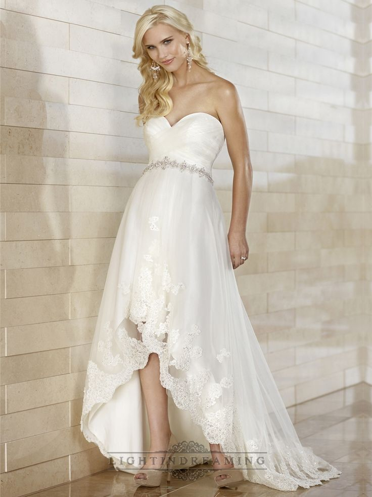 Gorgeous Slim High-low Sweetheart Ruched Bodice Wedding Dresses