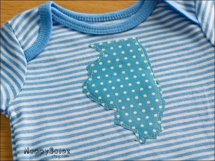 Applique Onesie - Blue Illinois - 0-3 months