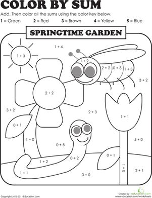 First Grade Addition Color by Number Worksheets: Color by Sum: Springtime Garden