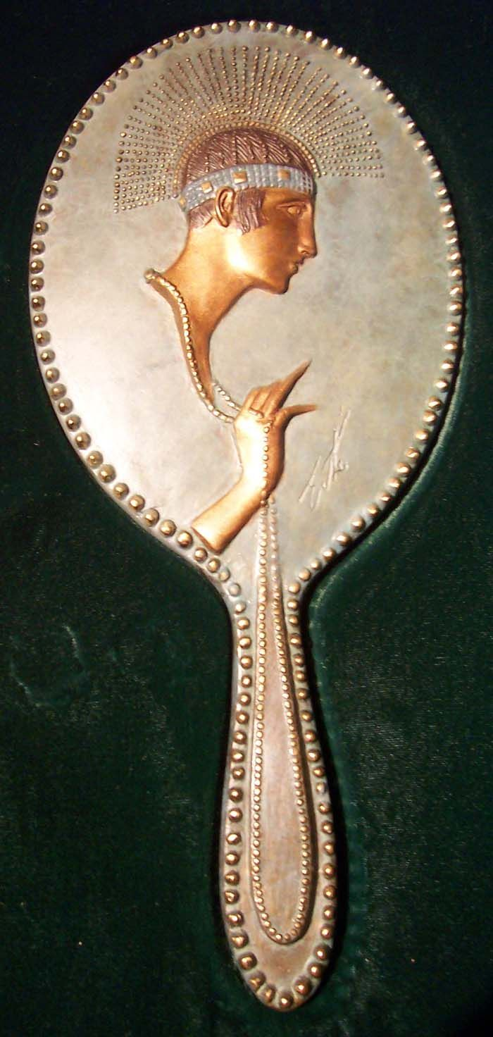 Extremely Rare Erte Bronze Hand Mirrors Only 250 of Each Were Made!