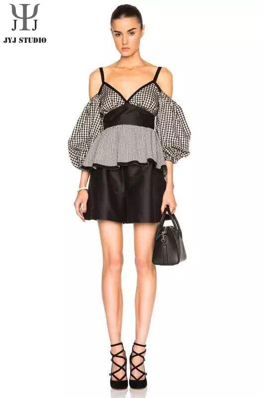 Aliexpress.com : Buy Black And White Plaid Shirt High Waist Strapless Shirt Blouse Palace Style Plaid Women Shirts Blouses With Fake Belt from Reliable blouse sweater suppliers on JYJ STUDIO
