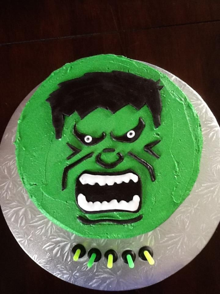 Hulk Smash Cake I Made For A Very Happy Lil 5 Year Old Boy