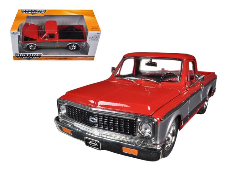 1972 Chevrolet Cheyenne Pickup Truck Red / Silver 1/24 Diecast Model by Jada - Brand new 1:24 scale diecast model car of 1972 Chevrolet Cheyenne Pickup Truck Red / Silver die cast car model by Jada. Rubber tires. Brand new box. Comes in a window box. Detailed interior, exterior. Has opening hood, rear gate and doors. Made of diecast with some plastic parts. Dimensions approximately L-8, W-3.75, H-3.25 inches. Please note that manufacturer may change packing box at anytime. Product will stay…