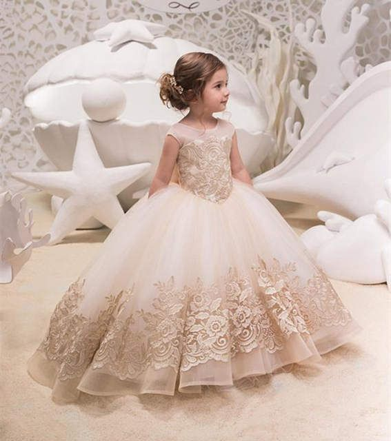 Vintage Lace Flower Girl Dress for Wedding Ball Gown Party Communion Dresses