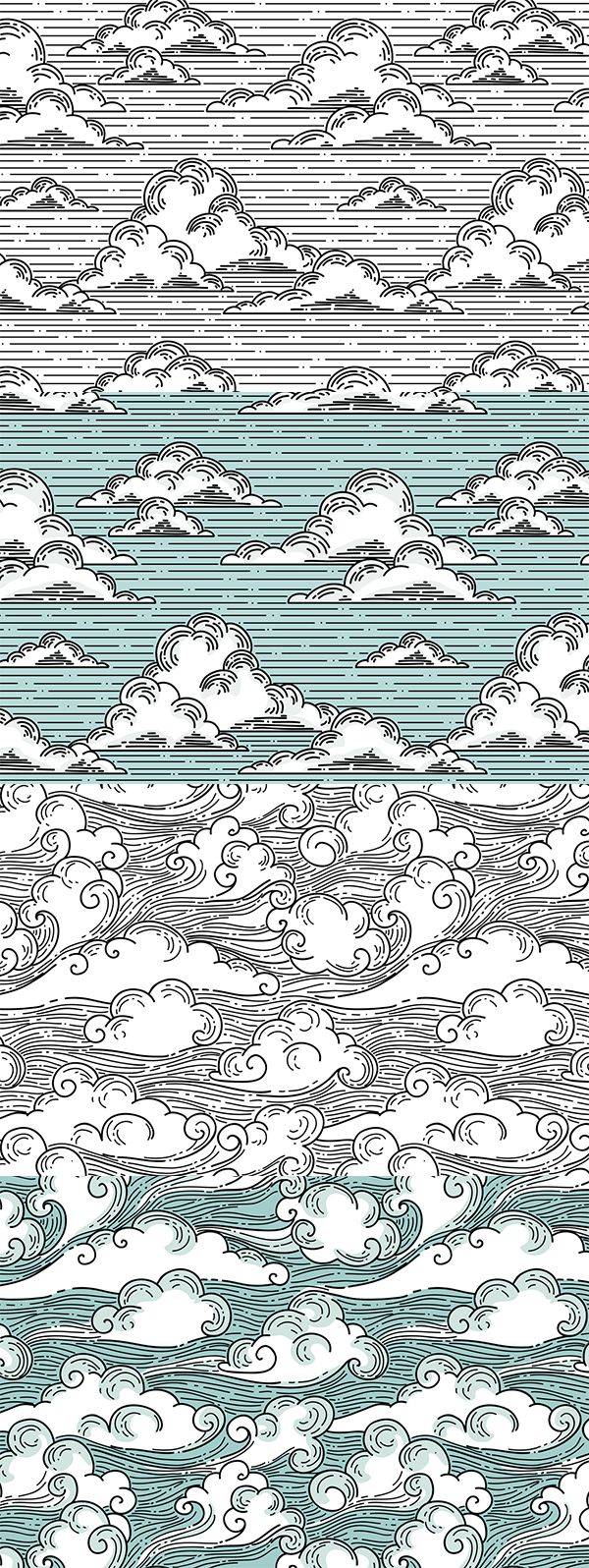 Four seamless cloud patterns