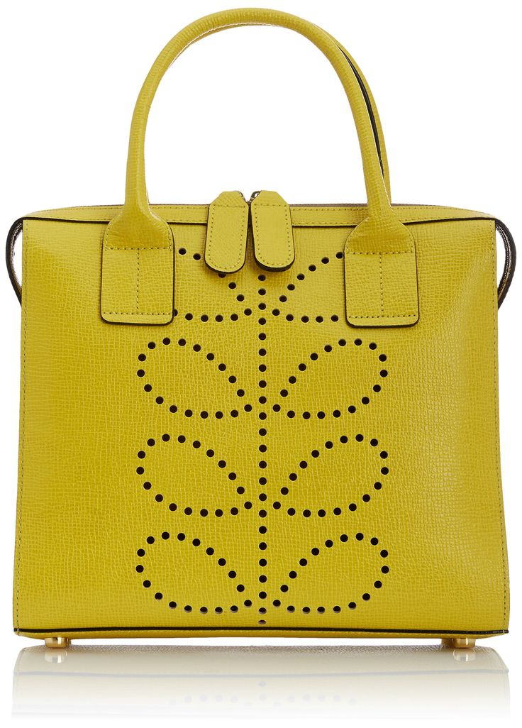 Orla Kiely Womens Texture Leather Margot Top-Handle Bag Lemon