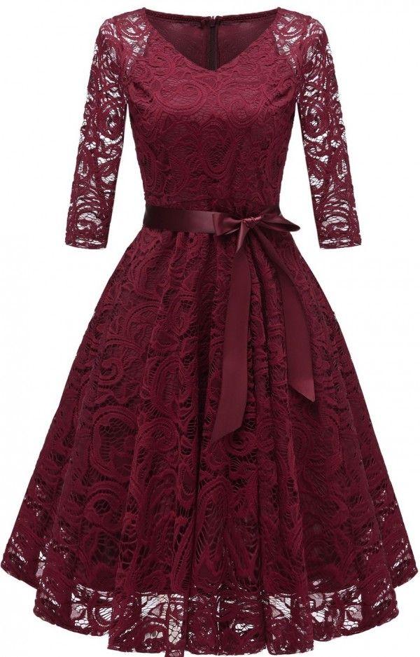 0f1338de7a07 MIDI ΦΟΡΕΜΑ MARLENA βουργουνδί - βραδινα φορεματα - Φορέματα ...