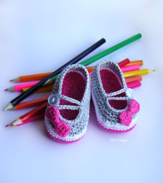Pink, White, Gray handmade crochet baby girl shoes, Grey Ballerina Baby Girl Shoes with nice bow, Slippers on Etsy, $10.16