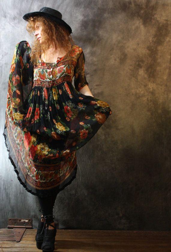 Vintage 1980s Gypsy Rose Bohemian Sheer Layering Dress India Rayon