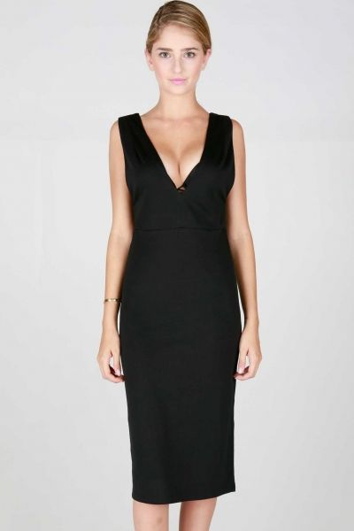 SLEEVELESS PLUNGING V-NECK MIDI DRESS