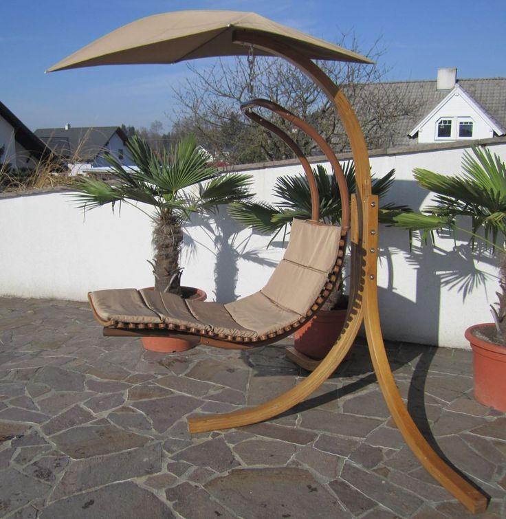 DESIGN Hängesessel NAVASSA mit Gestell aus Holz Lärche komplett mit Hängeliege und Dach Alles für Garten und Terasse Gartenmöbel Hängesessel mit und ohne Gestell