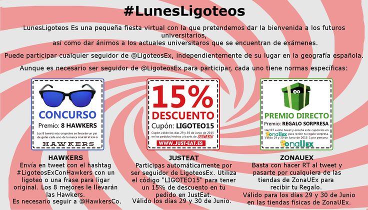¡COMIENZA #LUNESLIGOTEOS! Sorteo de 8 pares de @HawkersCo 15% de descuento en @JustEat_es ¡Regalos en @ZonaUEx!