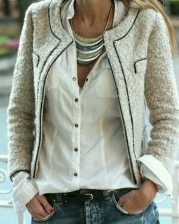 Tweed jacket and white shirt