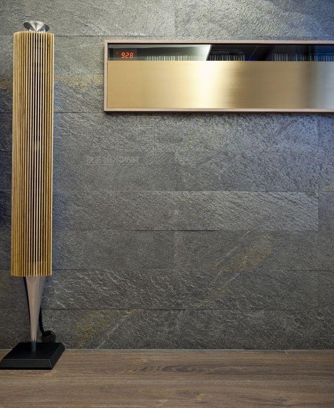 Galaxy Black Slate veneer textured feature wall.