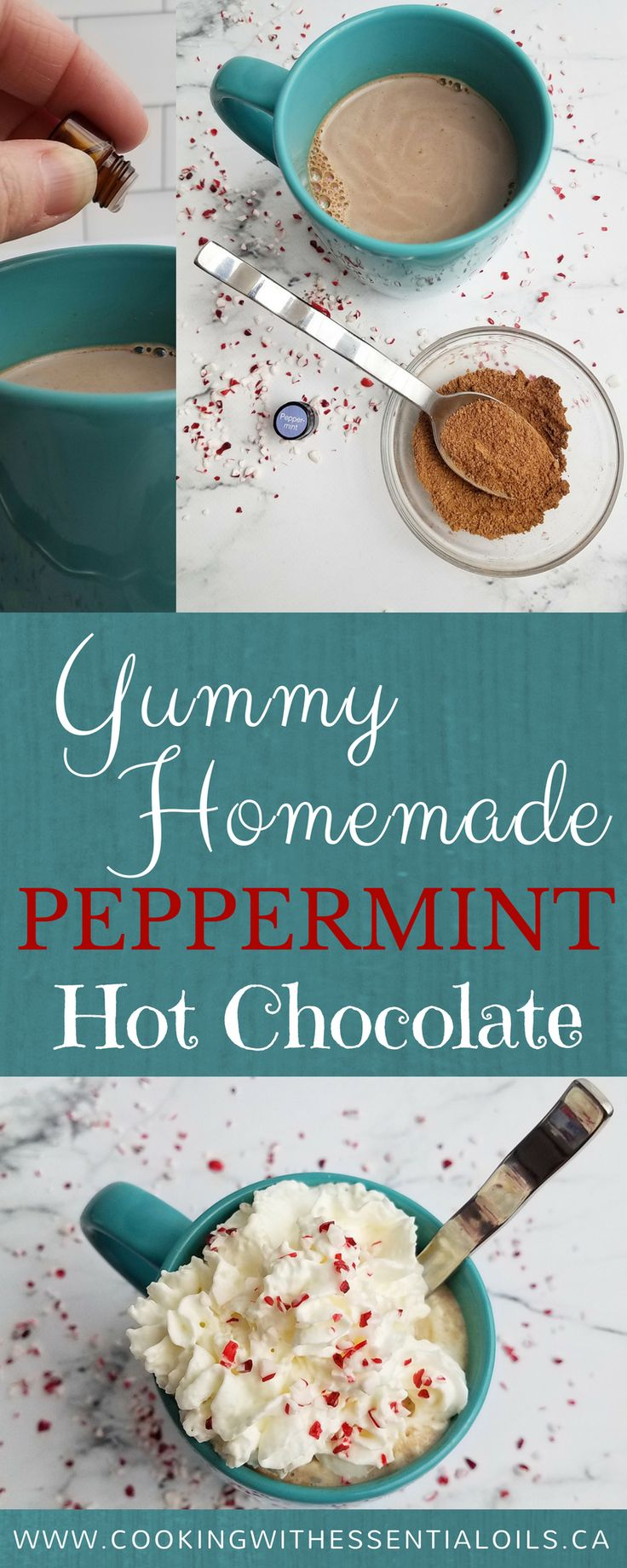 This post is brought to you by guest blogger Amy Jackson @learnblogphotog who shows off her incredible photography skills with a recipe for Yummy Homemade Peppermint Hot Chocolate made with peppermint #essentialoils #foodblogger #peppermint