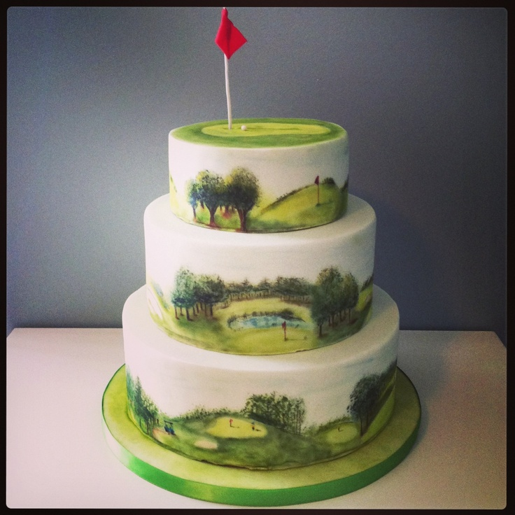 Fondant Golf Cake Design : fondant covered, hand painted golf course cake for a 90th ...
