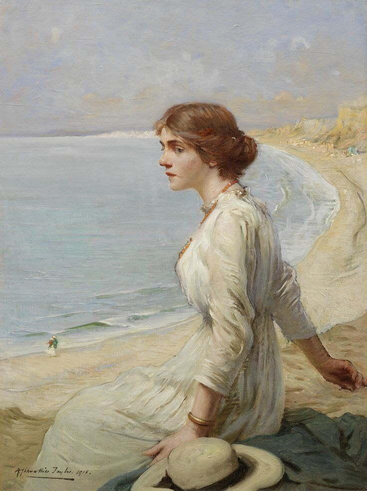 Girl Looking Out to Sea - Albert Chevallier Tayler 1918