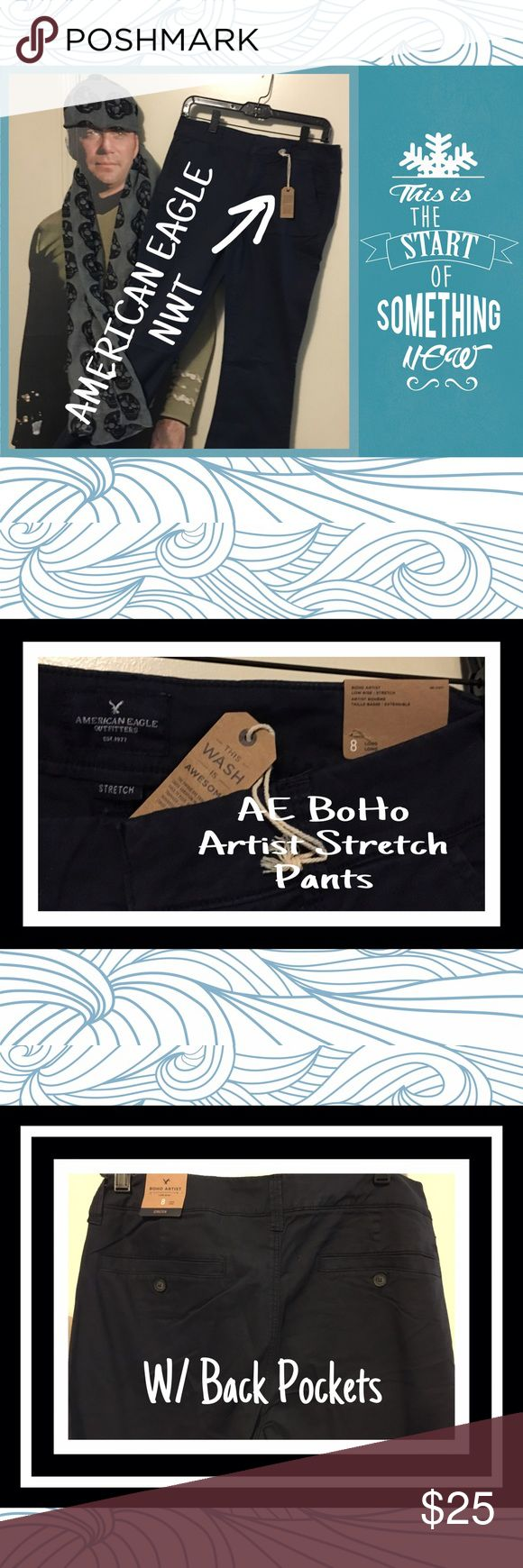 🖤🖤 NWT 🖤🖤 AEO Navy Blue BoHo Artist Stretch 🖤🖤 NWT 🖤🖤 AEO Navy Blue BoHo Artist Stretch Pants.  Great for work or PLAY!  Size 8 Long American Eagle Outfitters Pants Trousers
