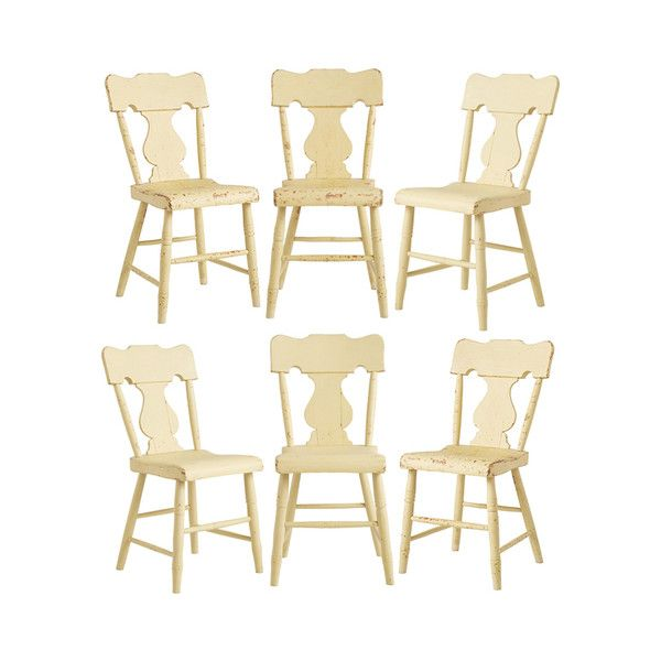Pre-owned Set of 6 Farmhouse Lyre-Back Chairs (2,545 CAD) ❤ liked on Polyvore featuring home, furniture, chairs, second hand chairs, secondhand furniture and second hand furniture