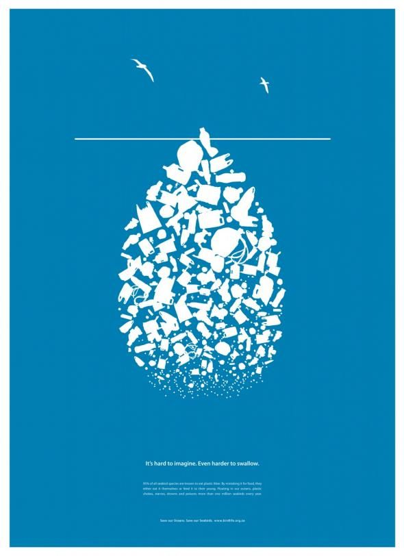 It's hard to imagine. Even harder to swallow.  95% of all seabird species are known to eat plastic litter. By mistaking it for food, they either eat it themselves or feed it to their young. Floating in oceans, plastic chokes, starves, drowns and poisons more than one million seabirds every year.  Save our Oceans. Save our Seabirds. www.birdlife.org.za  Poster by Jupiter Drawing Room, South Africa