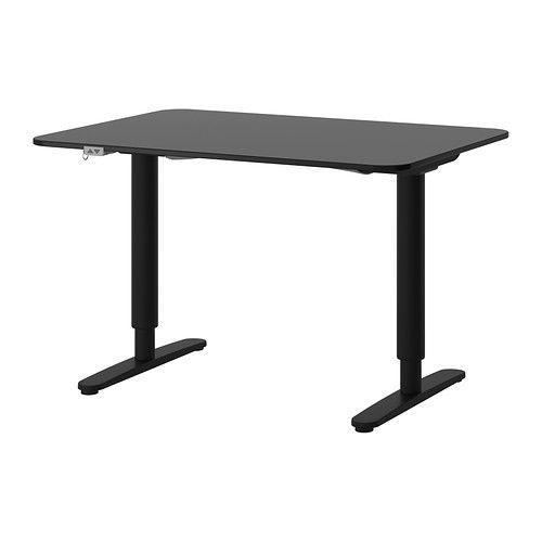 BEKANT Desk sit/stand - black-brown/black - IKEA