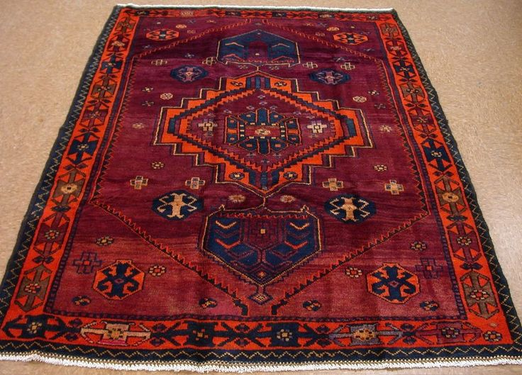 Persian Luri Tribal Nomadic Hand Knotted Wool Burgundy Orange Oriental Rug 5 X 7