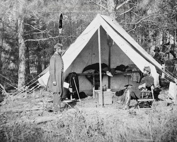 """Yorktown, Virginia. Headquarters of Sergeant Gabriel. Grant & Chaplain Jones, H. Dwight of French's Brigade. 66th New York Infantry """"GOVERNOR'S GUARDS.""""."""