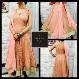Indian Designer   Boutique   Indian Fashion   Anarkali   Peach Suit - Call +918860484097, +919999176495, +919871098349