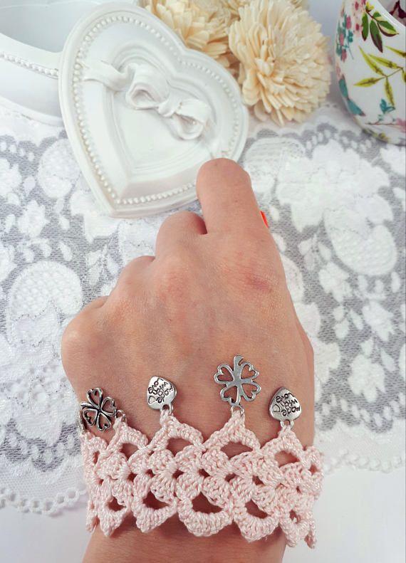 Light pink crochet bracelet crochet jewelry with charms