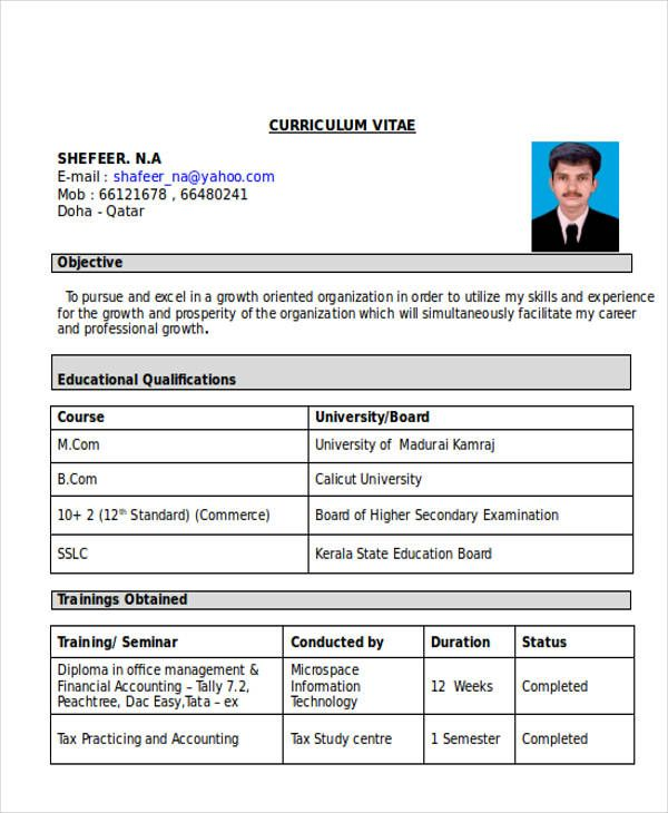 Curriculum Vitae Format For Freshers Accountant