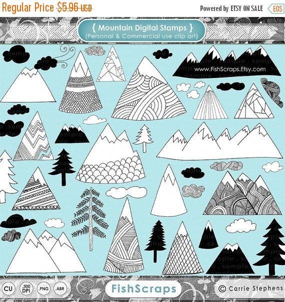 Verkauf handgezeichnete Berg ClipArt Natur von FishScraps auf Etsy