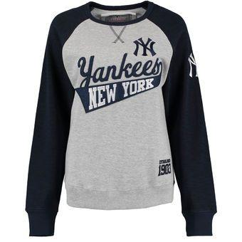 Women's New York Yankees Soft as a Grape Gray/Navy Biowashed Dugout Fleece Crew Neck Sweatshirt