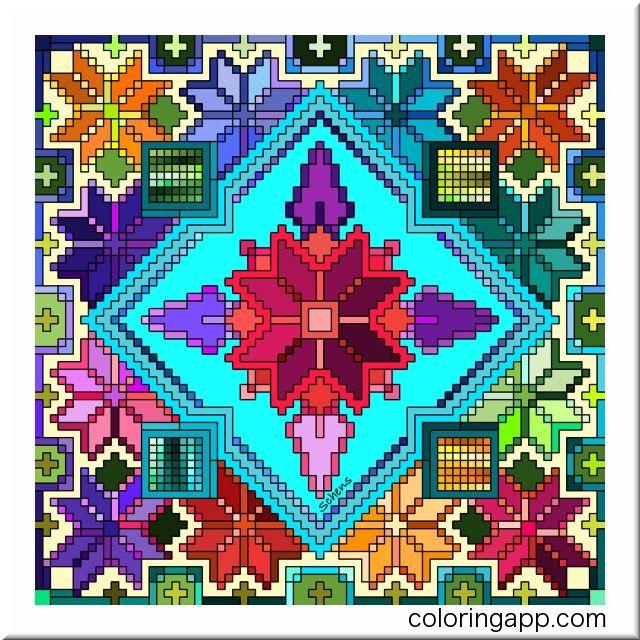 Схема вышивки болгарским крестом