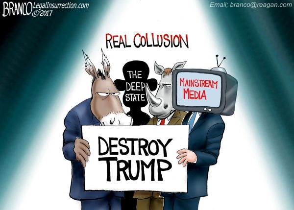 The real Trump collusion conspiracy is the DNC, RINOs, the deep state, and the mainstream media trying to destroy Trump. Cartoon by A.F. Branco ©2017.