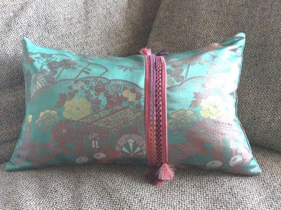 Japanese Obi pillow  with Obi-jime Band by uKimonoDecor on Etsy
