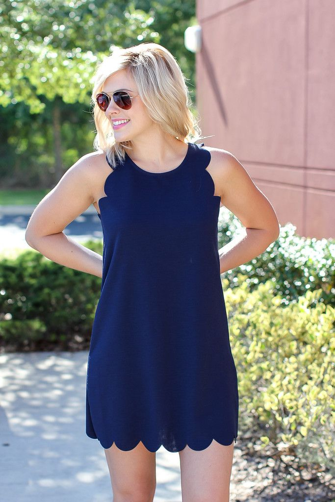 Scallop Dress - Navy