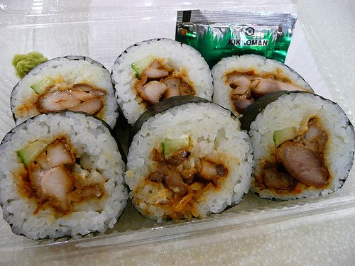Teriyaki Chicken Sushi - I make my own all the time.  Love with carrot, cucumber, teriyaki chicken and avocado!