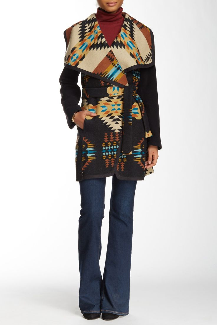 Jacquard Wool Blend Wrap Coat by PENDLETON on @nordstrom_rack