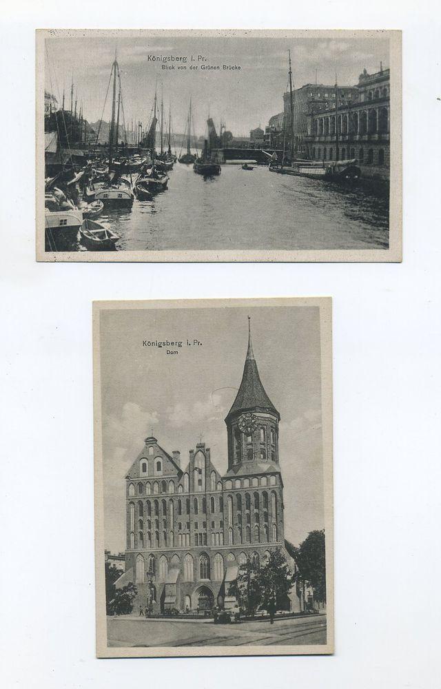Um 1930 Dt Reich Zwei Ansichtskarten Konigsberg Grune Brucke Dom