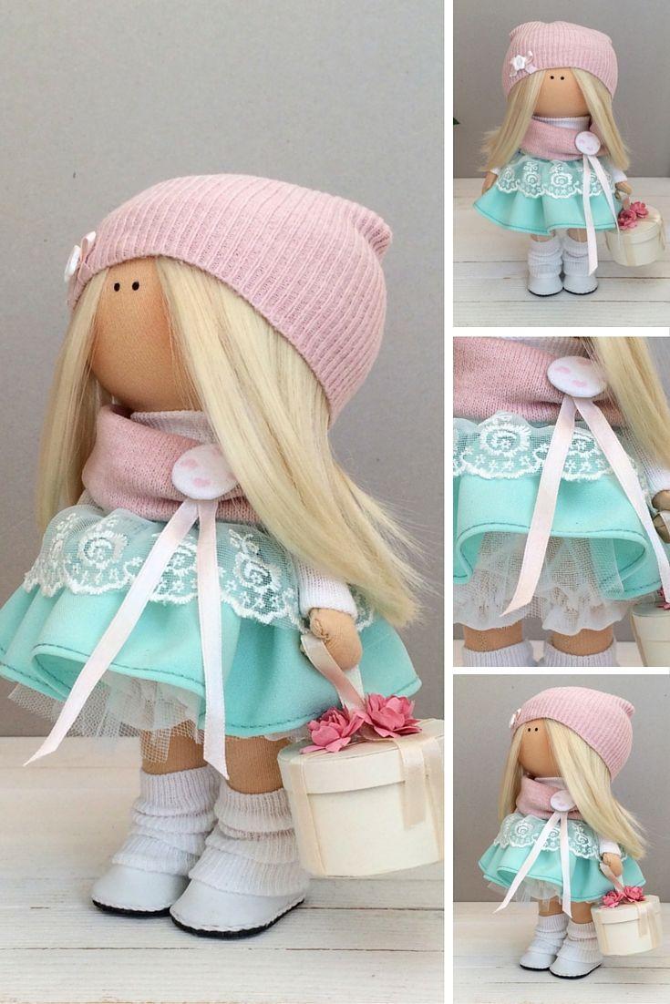Handmade doll toy Tilda doll Interior doll Art doll green pink colors Soft doll Cloth doll Fabric doll Love doll by Master Maria Lazareva