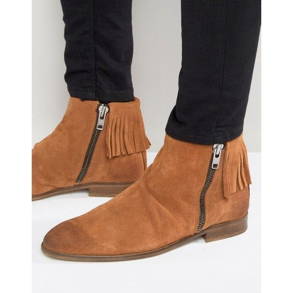 ASOS Chelsea Boots With Fringing In Tan Suede ($79) ❤ liked on Polyvore featuring men's fashion, men's shoes, men's boots, tan, mens tan chelsea boots, mens suede chelsea boots, mens suede shoes, mens tan suede shoes and mens suede boots
