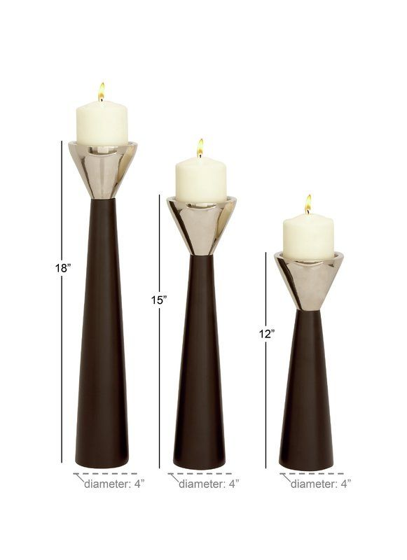 3 Piece Wood Candlestick Set Wood Candle Sticks Candle Tops Candle Holders