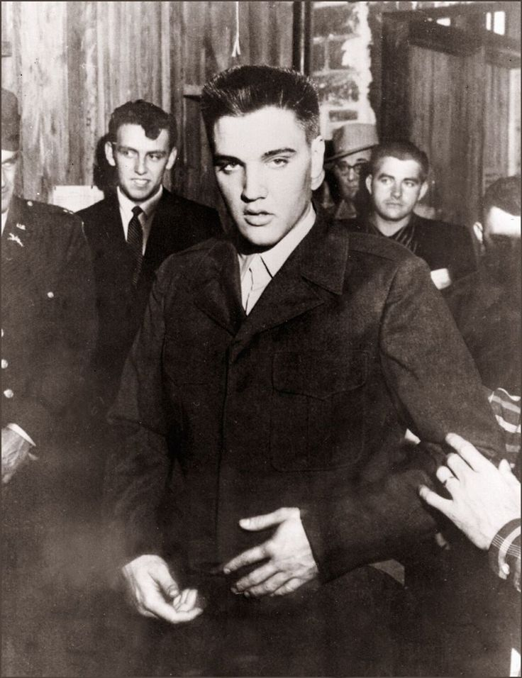 Elvis Presley in Fort Chaffee at the beginning of his military service March 1958